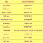 All Bank Missed Call Number to Check Mini Statement Last 5 to 10 Transactions?