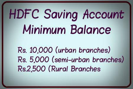 HDFC Saving Account Minimum Balance