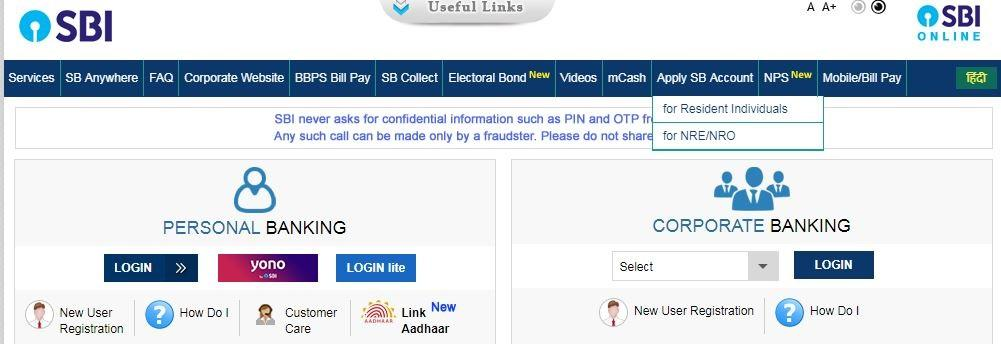 online bank account opening with zero balance in sbi